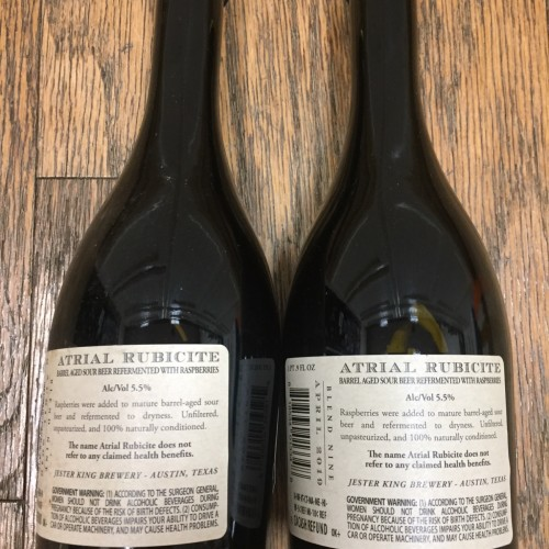Jester King TWO Atrial Rubicite Batch #9 B9 Bottles x2 LOT
